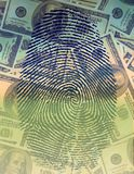 Financial Identity. Finger Print and USA Currency Stock Images