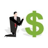 Financial idol. Businessman praying to dollar. Worship of money. Stock Images