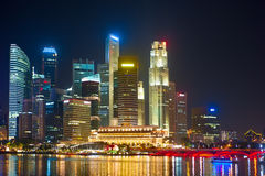 Financial illuminated architecture. Singapore Stock Photography