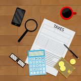 Financial illustration top view. Wallet, and tax form vector Stock Photos