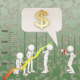 Financial improvement graph arrow teamwork. 3d rendering Royalty Free Stock Images