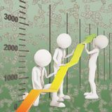 Financial improvement graph arrow teamwork. 3d rendering Stock Image