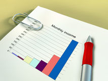 Financial income. Monthly income report on a desk. Digital illustration Royalty Free Stock Photography