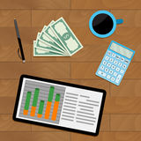 Financial income economic. Vector report information planning graphic illustration Stock Images