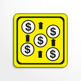 Financial income. Vector icon. Black-and-white object on a yellow background. Black-and-white object on a yellow background.  Vector icon Stock Photography