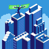 Financial independence, business success concept vector illustration. Businessman flying on the wings of financial success above skyscrapers. Financial Stock Images