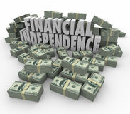 Financial Independence 3d Words Money Stacks Income Earnings. Financial Independence 3d words in piles of cash, money, earnings, income, revenue and profits to Royalty Free Stock Image
