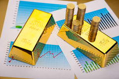 Financial indicators,Chart,Gold bar Stock Images