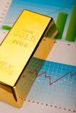 Financial indicators,Chart,Gold bar.  Stock Photography
