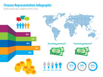 Financial infographic representation and world map Stock Image