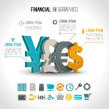 Financial infographic set. With 3d currency exchange signs vector illustration Royalty Free Stock Images
