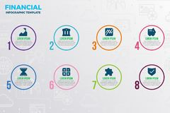 Financial infographic template. With icons and number option Stock Images