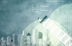 Financial infographics. Conceptual image with financial charts and graphs on city background Royalty Free Stock Image
