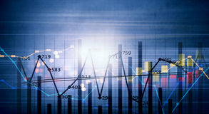 Financial infographics. Conceptual image with financial charts and graphs on digital background Royalty Free Stock Photo