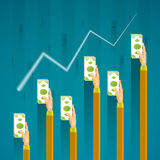 Financial infographics sales growth concept in flat style Stock Photo