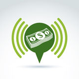 Financial information and advertising money theme icon, vector c Royalty Free Stock Photos