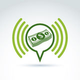 Financial information and advertising money theme icon, vector c Stock Photography