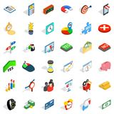 Financial injection icons set, isometric style. Financial injection icons set. Isometric set of 36 financial injection vector icons for web isolated on white Stock Photos