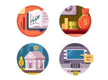 Financial institution money. Bank and ATM for issuance of banknotes. Vector illustration Royalty Free Stock Photography