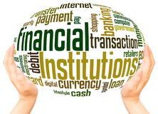 Financial Institutions word cloud hand sphere concept. On white background stock image