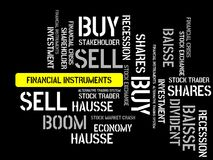 FINANCIAL INSTRUMENTS - image with words associated with the topic STOCK EXCHANGE, word cloud, cube, letter, image, illustration Stock Photo