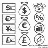 Financial Symbols. Vector illustration. Financial instruments for saving money. Black and white illustration. Vector Royalty Free Stock Photo