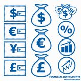 Financial Symbols. Vector illustration. Financial instruments for saving money. Vector illustration Royalty Free Stock Image