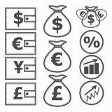 Financial Symbols. Illustration. Financial instruments for saving money. White and black illustration Royalty Free Stock Photo