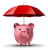 Financial Insurance. And wealth protection with a piggy bank and a red umbrella as a symbol of saving for a rainy day business concept on a white background Royalty Free Stock Images