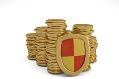 Financial insurance and business stability concept stacks of golden coins covered by protection.3D illustration. royalty free stock image