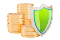 Financial insurance concept. Golden coins with shield, 3D render. Ing isolated on white background Royalty Free Stock Photography