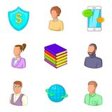 Financial insurance icons set, cartoon style Royalty Free Stock Image