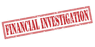 Financial investigation red stamp. Isolated on white background Stock Photography