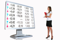 Financial investment. Young businesswoman and lcd on white background Royalty Free Stock Image