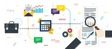 Financial investment, analytics with growth report stock photo