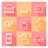Financial investment, bank and business icons. Icon set of business, bank and financial investment symbol with long shadows Stock Photos