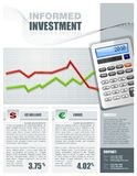 Financial Investment Brochure. Financial Investment themed brochure featuring detailed illustration of calculator and graphs Stock Photo