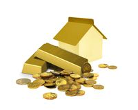 Financial investment concept. With house gold bar and coins Royalty Free Stock Photo