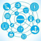 Financial and investment. Concept network in blue background Stock Images