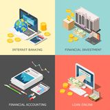 Financial Investment Design Concept. Isometric accounting 2x2 design concept with cumbersome conceptual icons of computer equipment office supplies and money Royalty Free Stock Photography