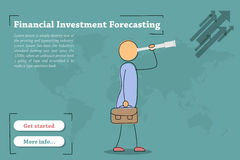 Financial Investment Forecasting - banner. Vector template of concept - Financial Investment Forecasting. Hand drawing illustration of businessman with telescope Royalty Free Stock Photography