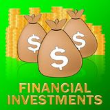 Financial Investments Means Investing Dollars 3d Illustration. Financial Investments Sacks Means Investing Dollars 3d Illustration Royalty Free Stock Photo