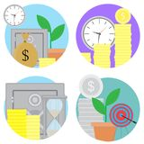 Financial investments and savings icons set. Vector investment finance, financial planning and financial security, finance growth stock market illustration Stock Photography