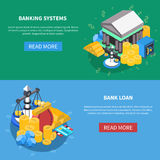 Financial Isometric Icons Banners Set. Banking systems and loan financial isometric icons webpage banners with read more button diagrams money scales coins bank Stock Photography