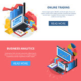 Financial Isometric Icons Banners Set. Online trading and business analytics isometric banners with read more button diagrams money office books computer symbols Royalty Free Stock Image