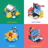 Financial Isometric Icons Square Composition. Financial analytics online trading systems with banking computer coins wallet money symbols signs 4 icons square Royalty Free Stock Photos