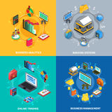 Financial Isometric Icons Square Composition. Business management analytics online trading systems with financial banking symbols signs 4 icons square isolated Royalty Free Stock Image