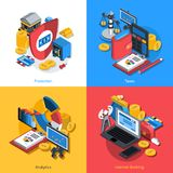 Financial Isometric Set. Financial design concept set with money protection analytics and internet banking isometric icons isolated vector illustration Royalty Free Stock Image