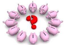 Financial issue. Concept. Pink piggy banks located around the red question mark. Financial concept. 3D illustration Stock Photos