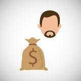 Financial item design. businessman icon. Flat illustration, vect Royalty Free Stock Photography